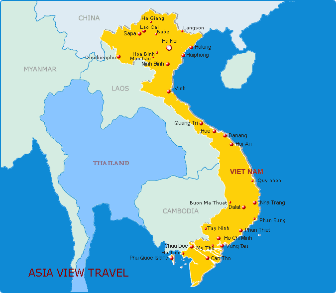 Viet Nam Travel Distance and Map Asiaview travel – Travel Map Of Vietnam